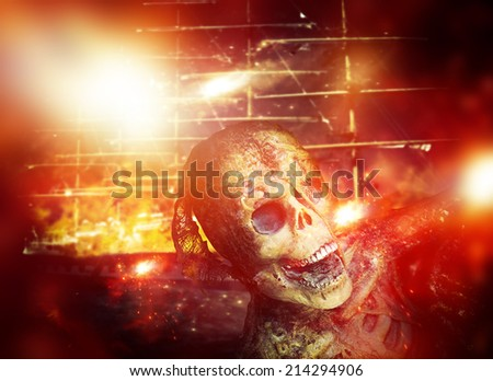 Attack on the pirates ship - stock photo
