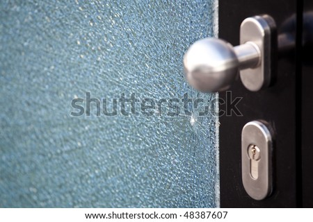 attempt theft, broken glass door - stock photo