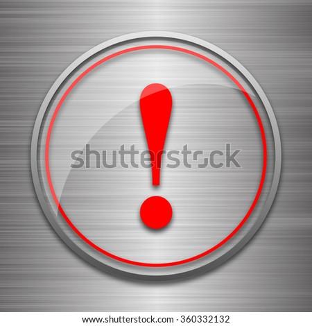 Attention icon. Internet button on metallic background.  - stock photo