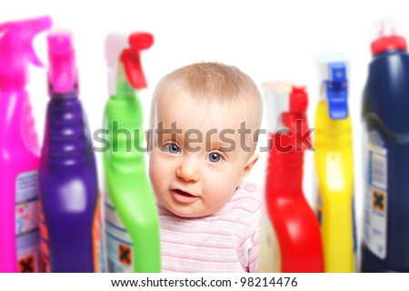 Attention: Infant wants to play with detergents