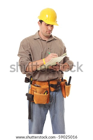 Attentive contractor writing down details of an order; isolated on white