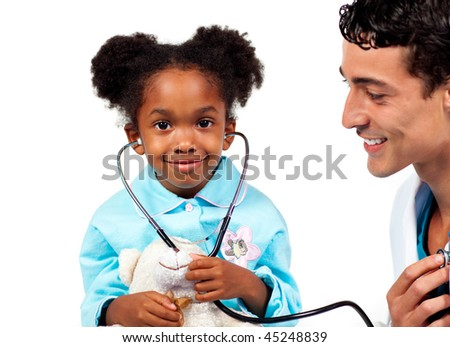 Attentive doctor playing with his patient against a white background - stock photo