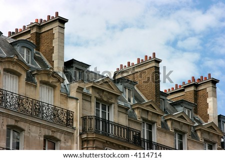Attics and chimneys in Paris