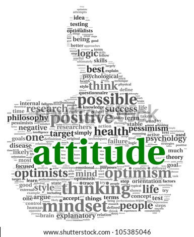 Attitude concept in word tag cloud of thumb up shape - stock photo