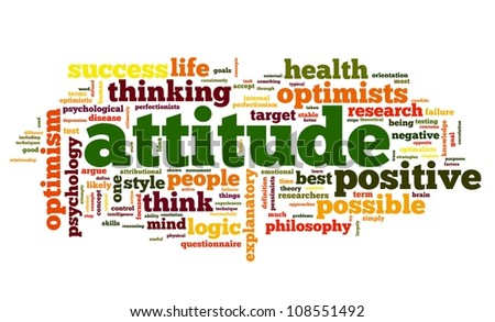 Attitude concept in word tag cloud on white background - stock photo