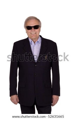 Attracktive older man with a wide smile and sun glasses