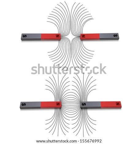Attraction and detraction between magnetic poles - stock photo