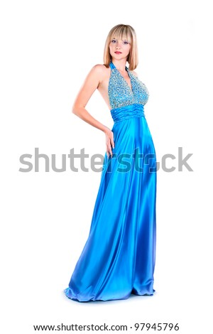 attraction young woman wearing blue gown isolated on white background - stock photo