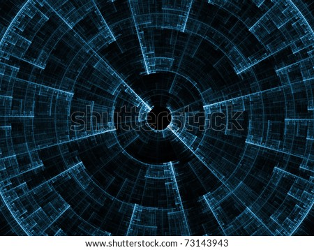 Attractive abstract fractal radial form on the subject of symmetry, grace, beauty, decoration and modern technologies