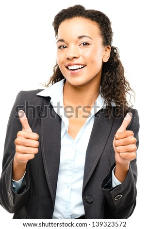 Attractive African American businesswoman thumbs up isolated on white background - stock photo