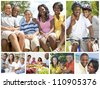 Attractive African American families mothers, fathers, sons, daughters outside having fun in the summer sunshine, eating, sitting, smiling, laughing, happy - stock photo