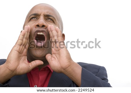 Attractive African  American man dressed in business attire yelling