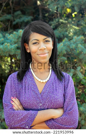 Attractive African AmericanBusiness Professional BusinessWoman with Black Hair Arms Crossed - stock photo