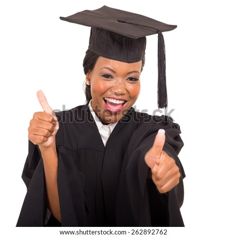 attractive african college graduate giving thumbs up