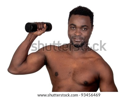 Attractive african man lifting weights isolated on a over white background