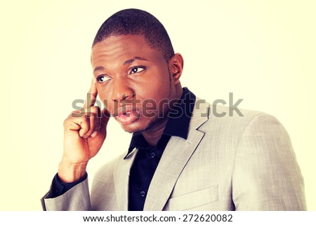Attractive african man serious face - stock photo