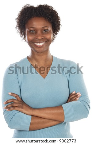Attractive African woman a over white background - stock photo
