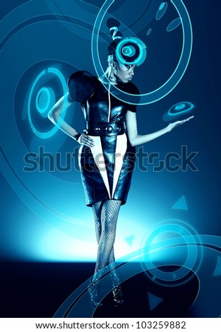 Attractive african woman in capsule with hologram - stock photo