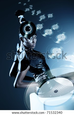 Attractive african woman with transparent flying records - stock photo