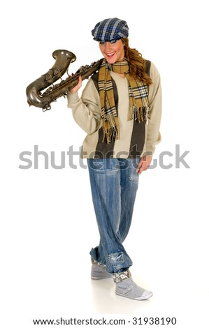 Attractive alternative dressed music performer, saxophone player.  Studio, white background