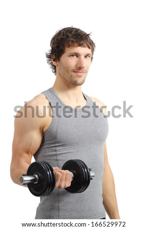 Attractive and athletic man doing weights isolated on a white background                - stock photo