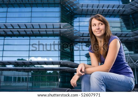 Attractive and beautiful young teenager girl posing in a relaxed calm fashion - stock photo