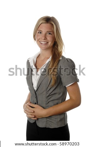 Attractive and fresh business woman smiles as she poses for her portrait. - stock photo