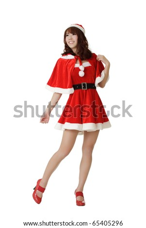 Attractive and sexy young Asian Christmas girl posing isolated over white. - stock photo