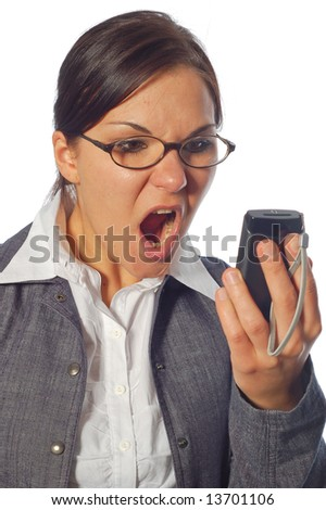 attractive angry woman with mobile phone on white background