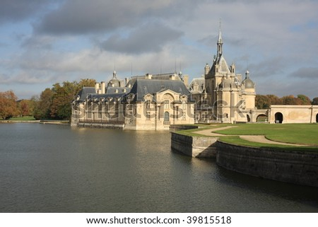 Attractive architecture on the Chateau de Chantilly, near Paris - stock photo