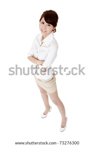 Attractive Asian business woman with confident expression, full length portrait isolated on white background. - stock photo