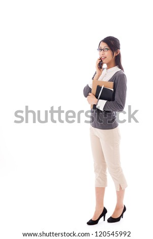 attractive asian businesswoman talking by cellphone on white background - stock photo
