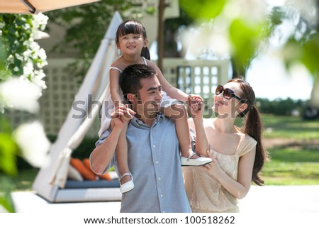 Attractive Asian Family Outdoor Lifestyle - stock photo