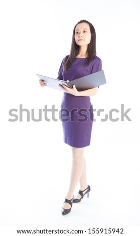 Attractive asian girl in her 30s shot in studio isolated on a white background