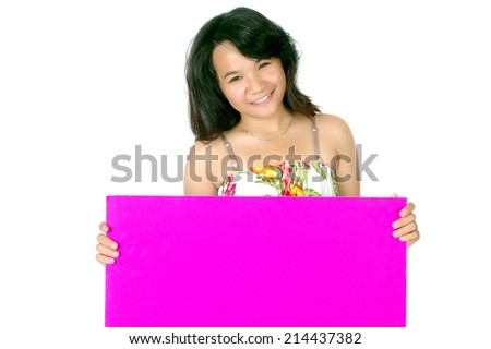 attractive asian teenage girl hold blank pink paper - stock photo