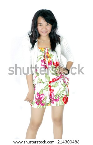 attractive asian teenage girl wearing casual clothes on white background