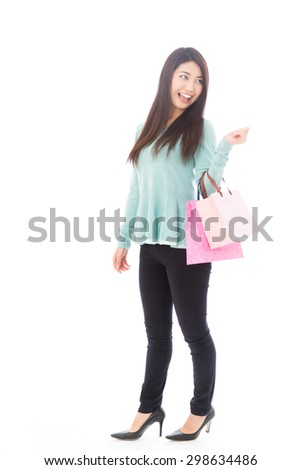 attractive  asian woman shopping image isolated on white background - stock photo