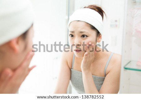 attractive asian woman skin care image - stock photo