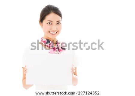 attractive asian woman wearing white clothes on white background - stock photo