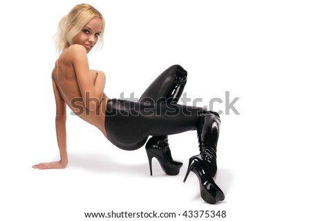 Attractive beautiful young blonde posing on a white - stock photo