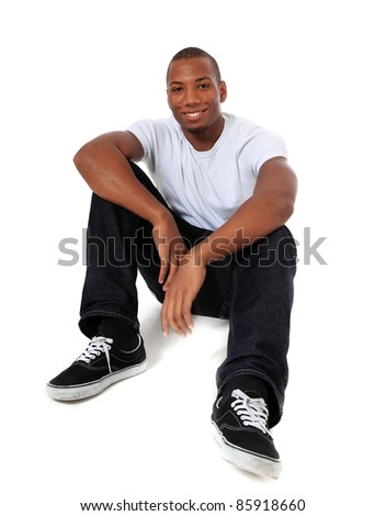 Attractive black man. All on white background. - stock photo