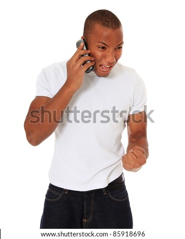 Attractive black man being angry during phone call. All on white background. - stock photo