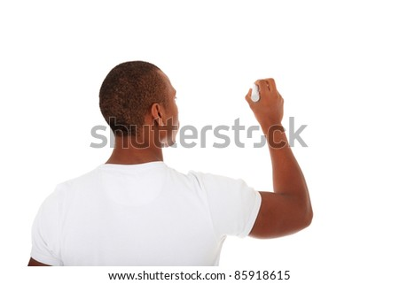 Attractive black man sketching. All on white background. - stock photo
