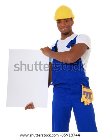 Attractive black manual worker holding blank white sign. All on white background. - stock photo