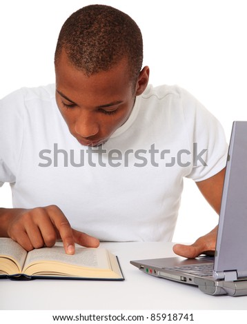 Attractive black student. All on white background. - stock photo
