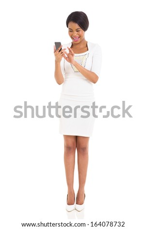 attractive black woman using smart phone on white background - stock photo