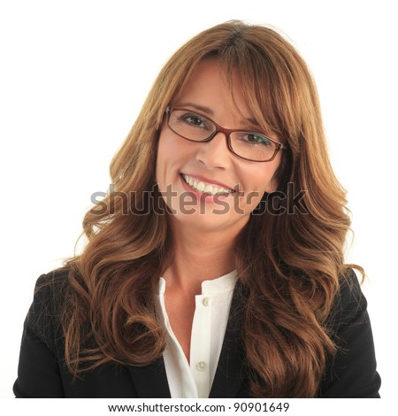Attractive blond business woman smiling against white background with copy space - stock photo