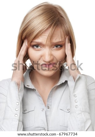 Attractive blond businesswoman having headache, isolated over white background - stock photo