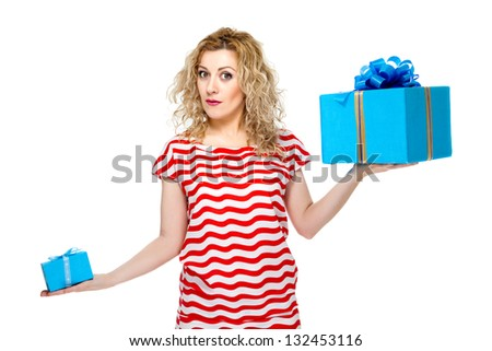 Attractive blond hair woman on white background