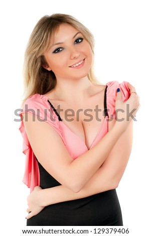 Attractive blond woman posing with charming smile. Isolated on white - stock photo